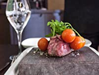 Sizzling Hot Rock Steak Meal with Wine for Two People