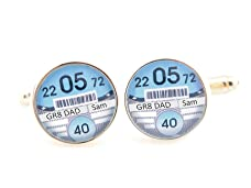 Personalised Tax Disc Cufflinks in a Choice of Colours
