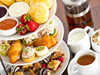 Festive Afternoon Tea with a Glass of Mulled Wine for Two People