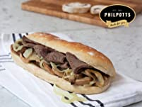 Hot Roast Meat Baguette with a Cake Slice and Hot Drink at Philpotts
