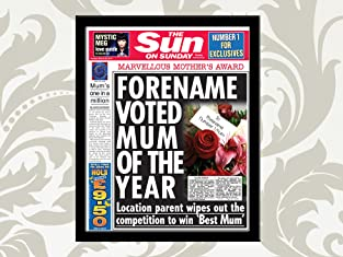 A Voucher for a Personalised and Framed 'Best Mum' Front Page of The Sun